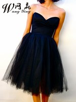 Summer Tea Length Navy Party Dresses 2017 Sweetheart Ruched Tulle A Line Vestidos Short Women Cute
