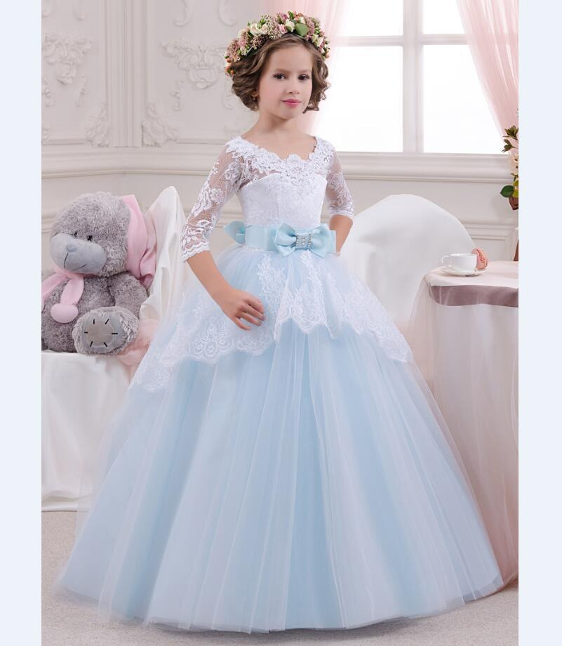 Dress for children ball gown three quarter sleeves dress for girls light blue party dress princess long dress lace 2-13 yrs light peach allover lace three fourth sleeves dress pink