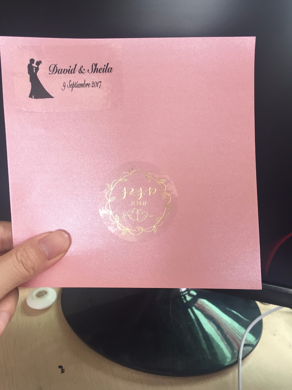 90 Rose gold vintage wedding engagement personalized text stickers ...