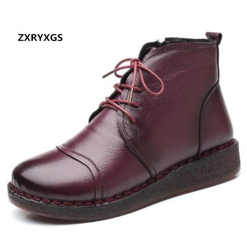Chaud 2019 nouveau hiver en cuir véritable bottes chaussures chaudes Plus velours neige bottes antidérapant plat avec fond souple femmes chaussures bottes