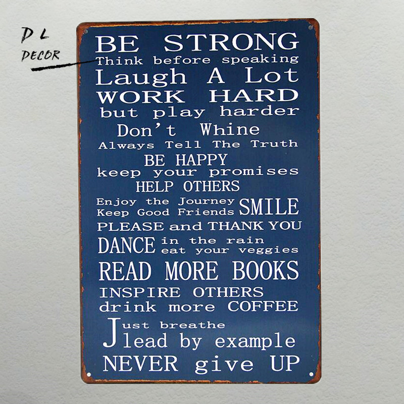 DL-Metal Wall Hanging Sign Be Strong in Black White Inspirational Phrases Plaque