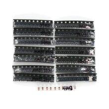 150 개/몫 sot 23 트랜지스터 키트 모듬 세트 S9012 S9014 bav90 bav70 mmbt5551 15 가지 smd 3 극 키트 sot23 트랜지스터 세트