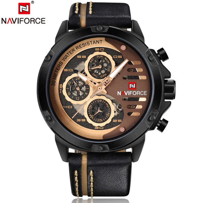 <font><b>NAVIFORCE</b></font> Sport Men Watches Top Brand Mens 24 Hour Week Date Analog Military Quartz Wirst Watch Leather Clock Relogio Masculino image