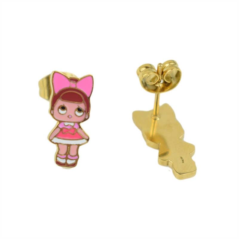 패션 만화 핑크 lol 인형 스테인레스 스틸 황금 도금 목걸이/귀걸이 세트 여자를위한 보석 여자 아이 보석 선물