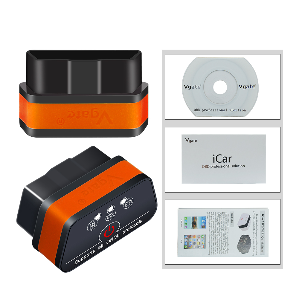 Vgate iCar 2 ELM327 Wifi Bluetooth OBD2 Diagnostic Tool for IOS iPhone Android Icar2 Bluetooth wifi Vgate iCar 2 ELM327 Wifi/Bluetooth OBD2 Diagnostic Tool for IOS iPhone/Android Icar2 Bluetooth wifi ELM 327 OBDII Code Reader
