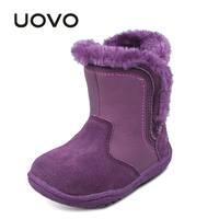 Uovo Girls Kids Soft Light Warm Appliques Ankle Boots PU Suede Leather Shoes Winter Botas Ninas