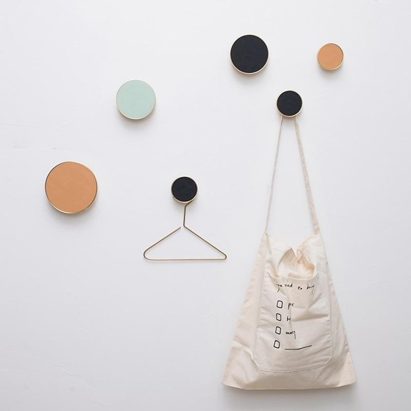 Скандинавская латунь+ кожа круглая одежда подвесной крючок крыльцо/гостиная/кабинет декоративное пальто настенный Hook-1Pack