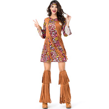 Umorden Peace and Love Hippie Costume for Women Adult 70s Costumes Halloween Party Carnival Fancy Dress