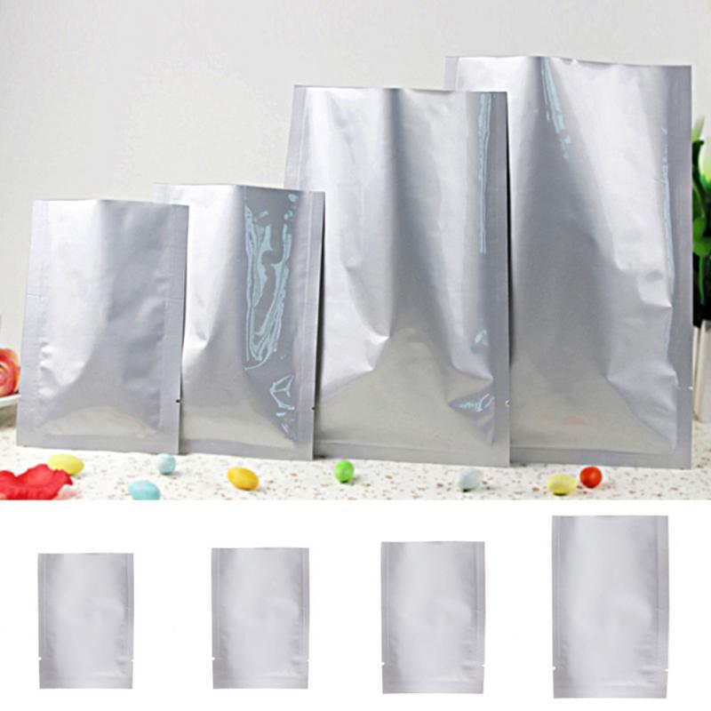 Multifunction 100pcs Vacuum Sealer Zipper Silver Aluminum Foil Mylar Bags Food Storage Pouches For Kitchen Tools