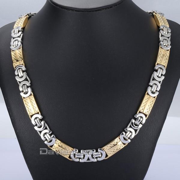 Davieslee Byzantine Link Stainless Steel Necklace Bracelet Silver Gold Tone Mens Chain DLKN277