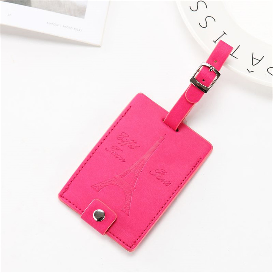 Round Luggage Tags Eiffel Tower Pink PU Leather Suitcase Labels Bag