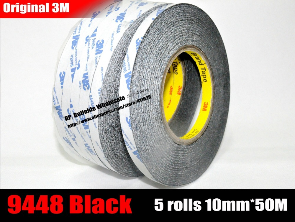 5 rolls (10mm*50Meters) High Bond 3M 9448 Black Double Adhesive Tape for ipad, mini pad Tablet Android phone Camera Screen LCD miaogy 5 rolls 6mm 25m strong pet double sided adhesive tape for auto car abs plastic panel battery glass bond