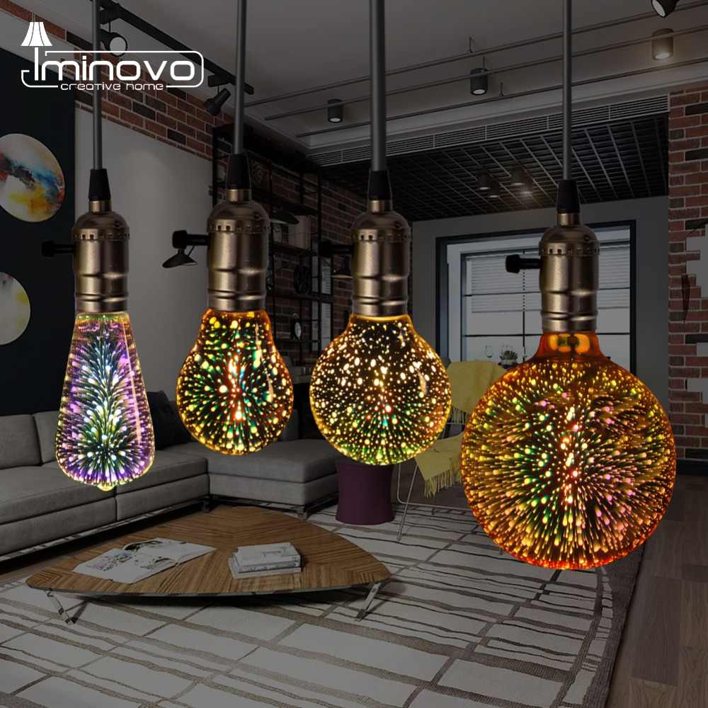 3D Led Bulb Star E27 Vintage Edison Colorful Bombillas Night Light Retro Glass Lampara Ampoule Home Decor Firework RGB Christma