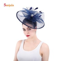 Big Tulle Hats Navy Blue for Women Feathers Beaded Bridal Hats Wedding Hair Accessories Fascinators chapeau mariage H28