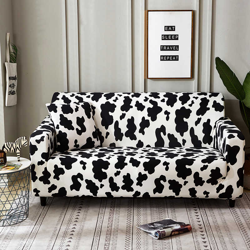 Magnificent Black And White Cow Pattern Elastic Sofa Cover Sofa Machost Co Dining Chair Design Ideas Machostcouk