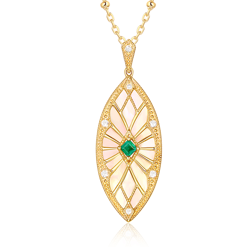 ALLNOEL Sweater Chain Long Necklaces Pendants For Women Handmade Costume Accessories Natural Emerald Stone Leaf Pendant Necklace (2)