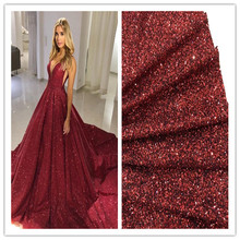 good selling 5 yards/lot burgundy glued glitter lace fabric JIANXI.C 1810 tulle lace for sexy dress