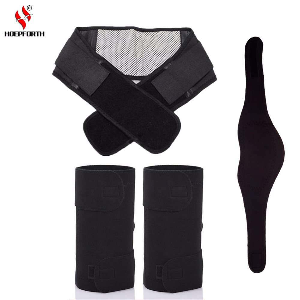3PCS/Set Tourmaline Self-heating Magnetic Therapy Knee Pad Neck Belt And Back Waist Support Brace Massager Thermal Protection