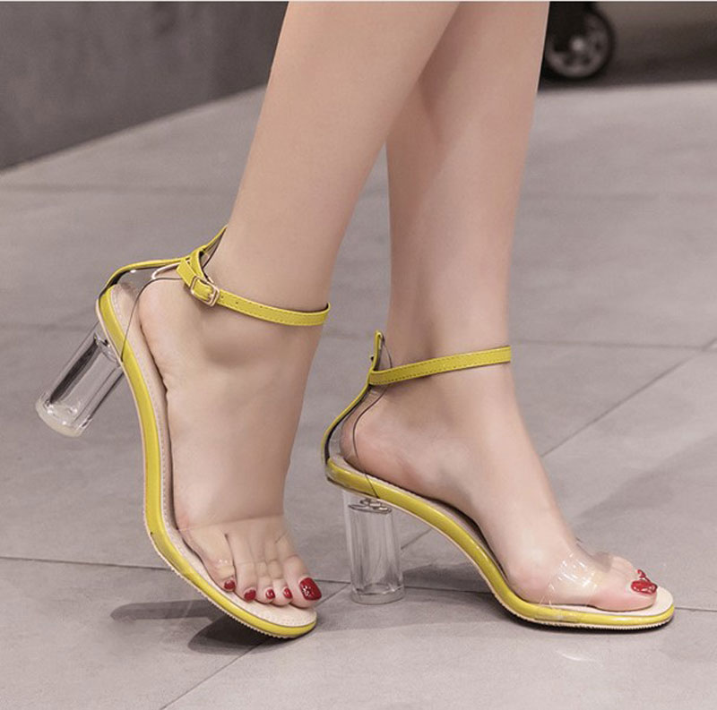Women Summer Sandals Women 2019 Leather Square High Heels Sexy Sandals Lady Open Toe Fashion Buckle Strap Sandalias Shoes