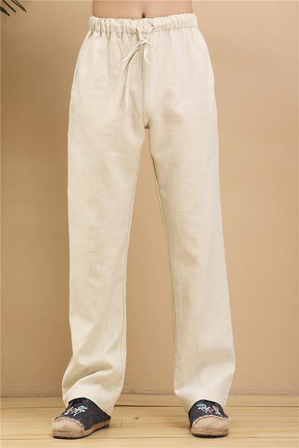 Nueva Primavera Retro Masculina Pantalones Harem de Lino de Algodón de Ocio Sueltos de Cintura Elástica Pantalones Rectos de Kung Fu Chino 100804