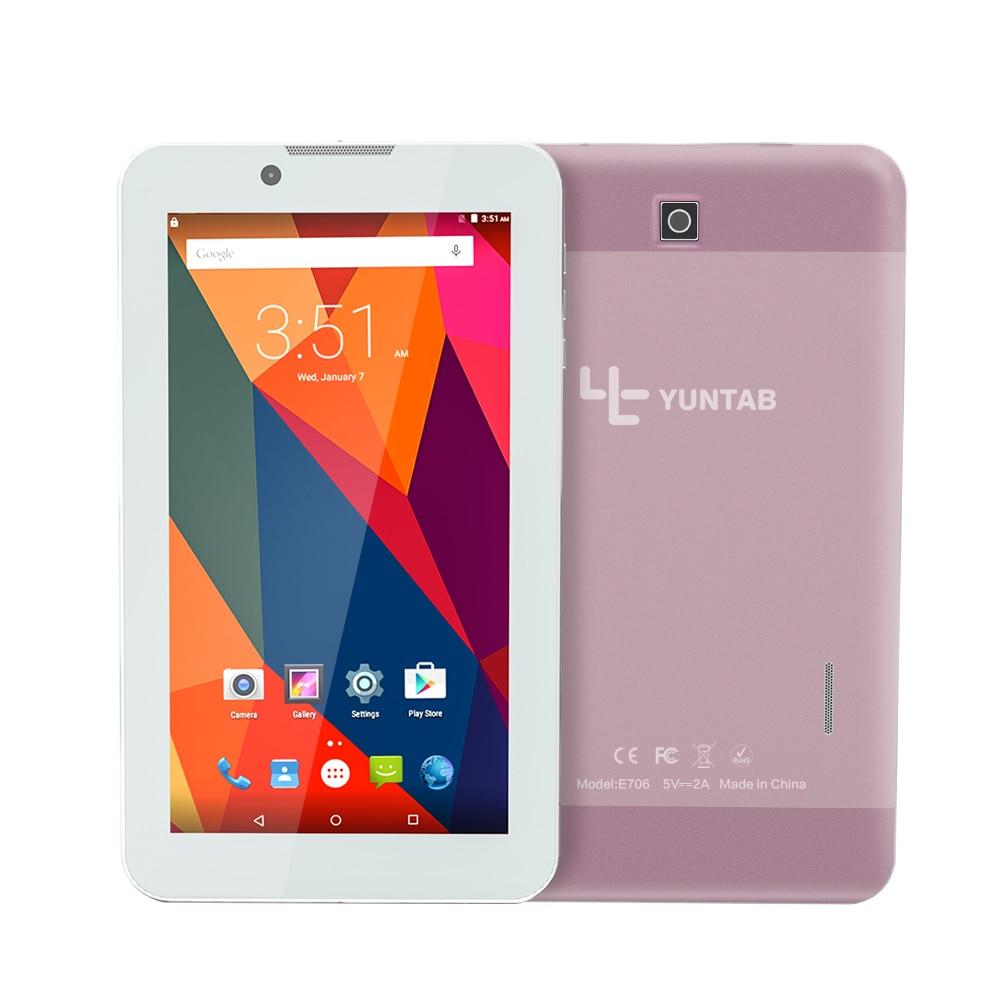 Yuntab 7 polegada Tablet PC Liga E706 Android 5.1 Quad Core 1G + 8G com tamanho normal Do Cartão SIM de telefone Celular Câmera Dupla subiu ouro