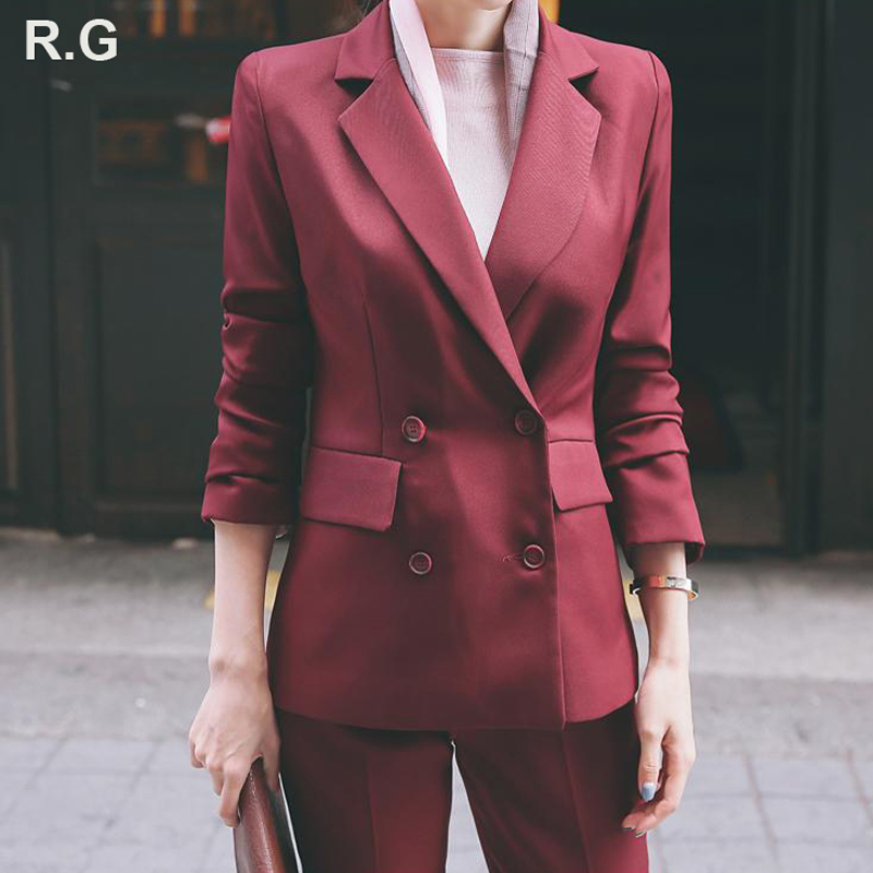 RG Elegant Pant Suits Women Casual Office Business Suits Formal Work Wear Sets Uniform Styles Double Breast Blazer Pant Suits