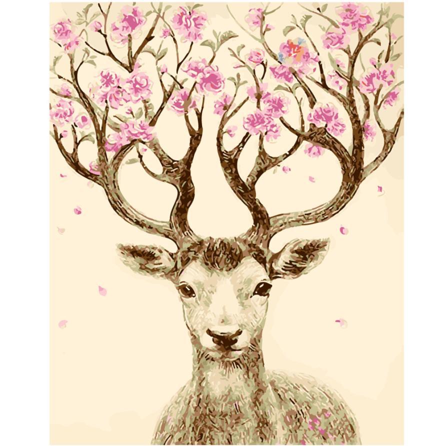 สัตว์ดอกไม้DIYน้ำมัน16*20นิ้วภาพวาดโดยตัว