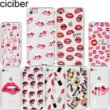 ciciber Kylie Jenner Sexy Girl lips lipstick kiss pattern soft phone cases cover for iPhone 6 6S 7 8 plus 5S SE X Coque fundas