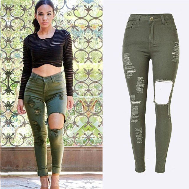 037069e6b66 Womens High Waisted Navy Green Slim Stretch Denim Jeans Destroy Skinny Leg  Ripped Hole Distressed Pants Jeans