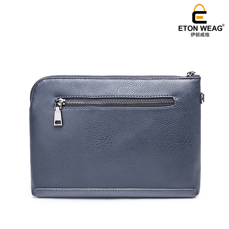 ETONWEAG Brands Italian Leather Men Wallets Blue Zipper Clutch Bags Business Style Day Clutches Organizer Cell Phone Coin Purse universal nylon cell phone holster blue black size l