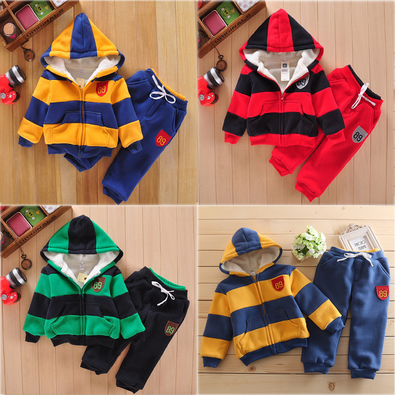 Autumn Children's striped pattern casual set coat and pants Fashion baby girls boy solid Suits 2pcs sport clothes with nap 2pcs set baby clothes set boy