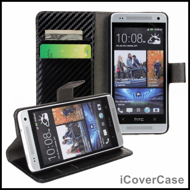 Fibra de carbono Soporte Tirón de la Carpeta de LA PU Funda de piel para HTC Uno