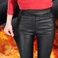 2017 Nuevos Pantalones de Las Mujeres Calientes Pantalones Sólidos pantalones Elásticos Pantalones de Cuero Con Bolsillo de la Alta Cintura Elástico Legging Mujer Delgada pantalones