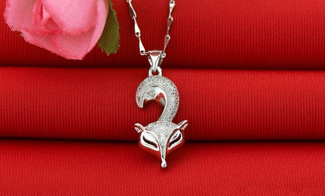 High quality cute fox design shiny cz zircon 925 sterling silver female pendant necklaces jewelry gift lady short chain no fade in Pendant Necklaces from Jewelry Accessories