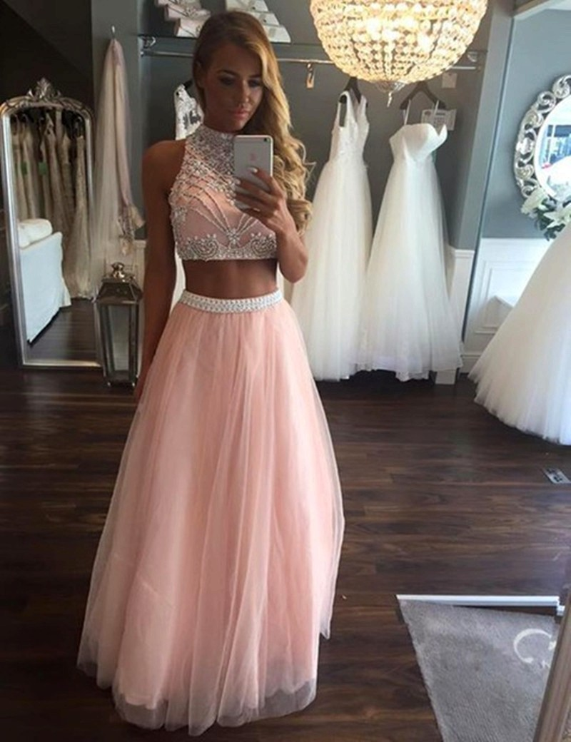 e05755283f2 Vestido De Festa Luxury Beading Crystal 2 Pieces Prom Dresses 2017 Pink  Tulle High Neck Stunning Evening Dress Party Gowns