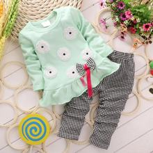 2pcs Toddler Infant Kids Baby Girl Clothes Pullover Bow Tops+Plaids & Checks Pants Outfits Set H3(China)