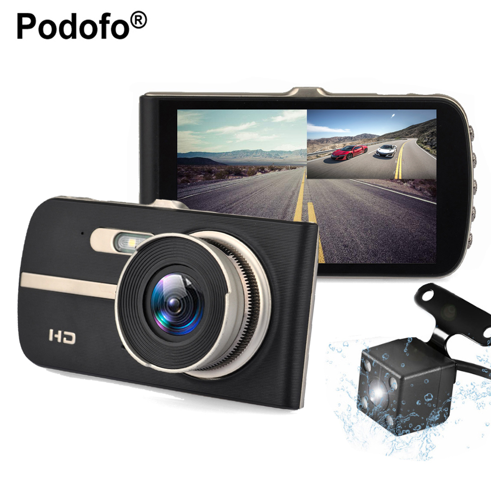 Podofo 4.0 Car DVR Camera Dual Lens Rear View Registrar Novatek 96658 Night vision Car Dvrs Dashcam Camcorder Loop Recording