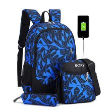New 2019Male Backpack for Teenagers Boy School Bags Children Waterproof Oxford USB Charge Design Bag Boy Backpack Schoolbag(China)
