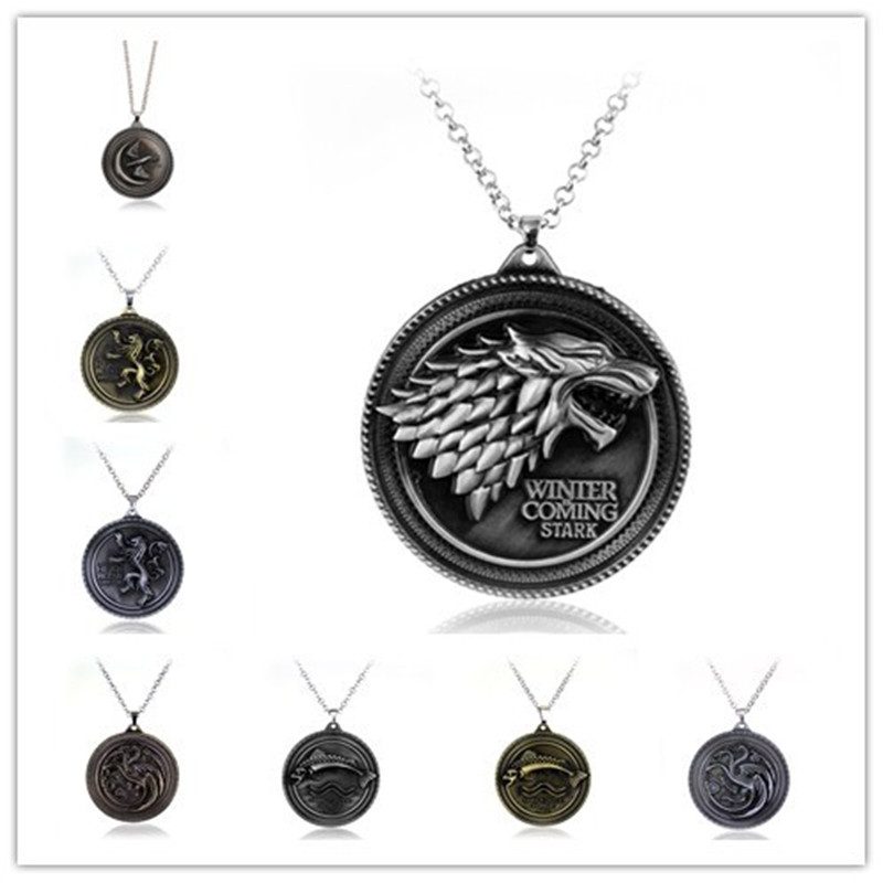 Cosplaykettingen Kettingen Game of Thrones Ketting House Stark Winter komende vintage Wolf Kettingen Hangers Dames Heren Sieraden