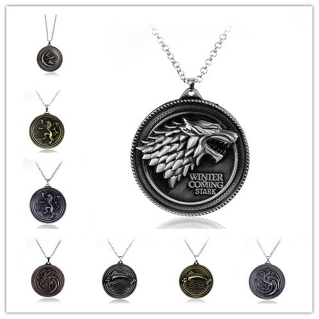 Cosplay Movie Necklaces Of Thrones Necklace House Stark Winter Coming Vintage Wolf Pendants Women
