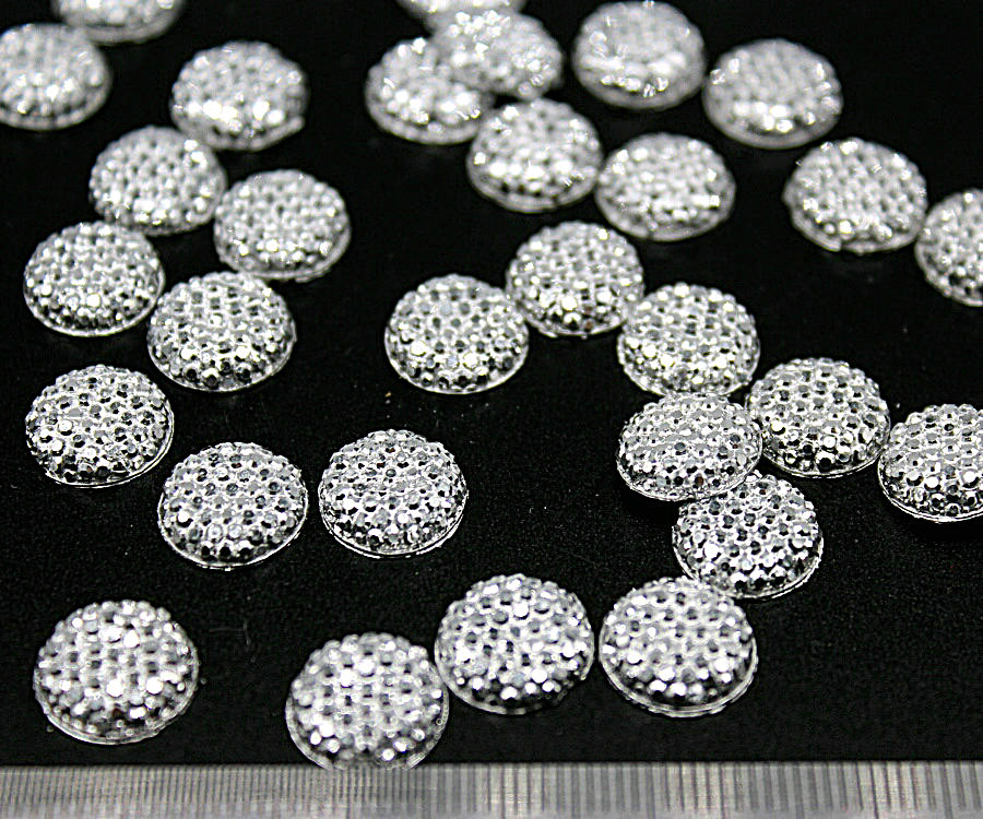 800pcs Metallic Silver 12mm half round Flat Back Resin Glitter Rhinestone Cabochon Embellish Silver Grey mini Resin Druzy cabs