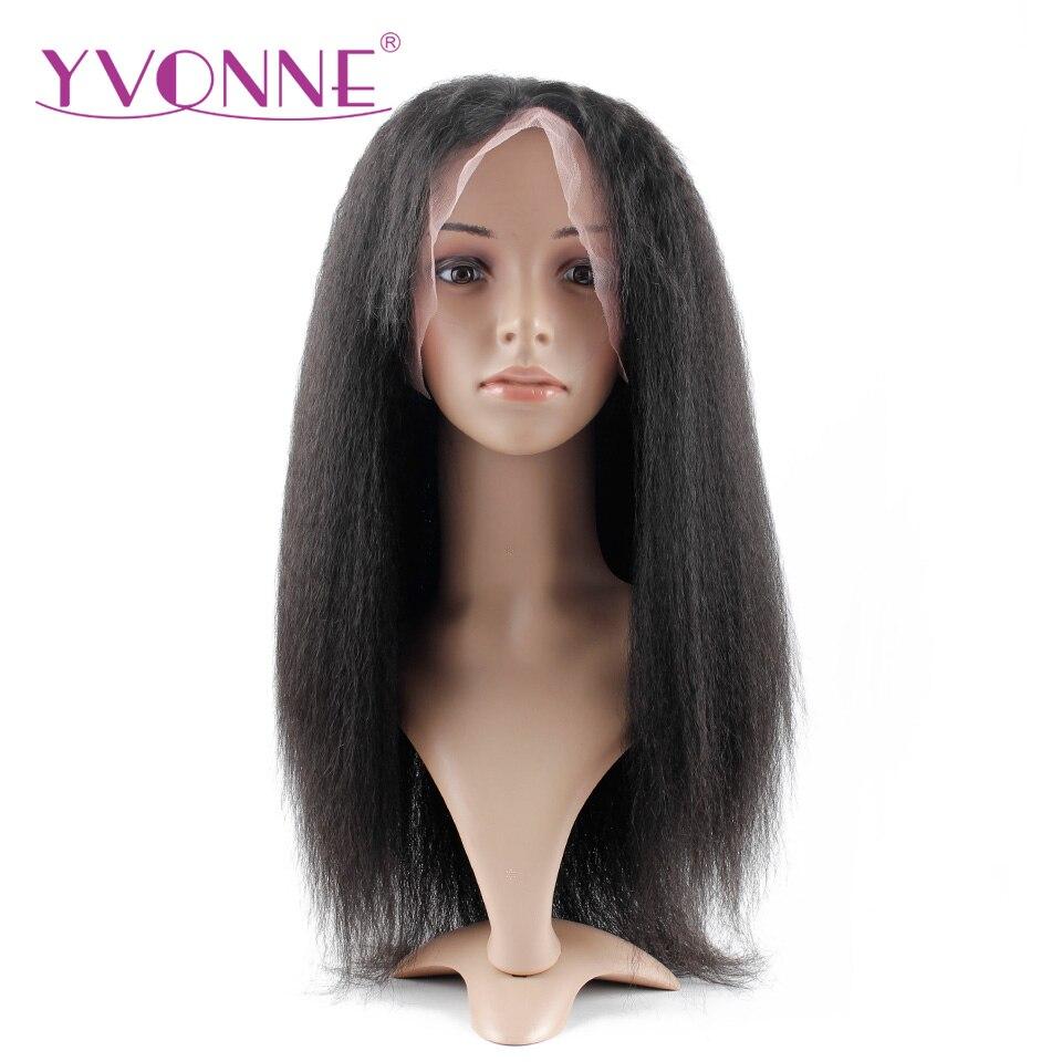 YVONNE 180 Density Kinky Straight Lace Front font b Human b font font b Hair b