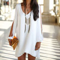 2015 Hot Summer Fashion V-Neck Chiffon Solta Plus Size Mulheres Sem Mangas Sexy Casual Cocktail Party Mini Vestido