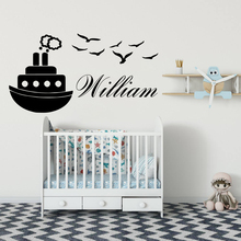 Custom Name Steamship Wall Stickers Vinyl Wall Decor For Kids Room Bedroom Decoration Removable Mural Decal цена