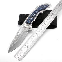 SR Tactical Folding Knife engraving Stone wash Blade Portable Camping Survival Pocket Knives Hunting Tactical Knife EDC Tools