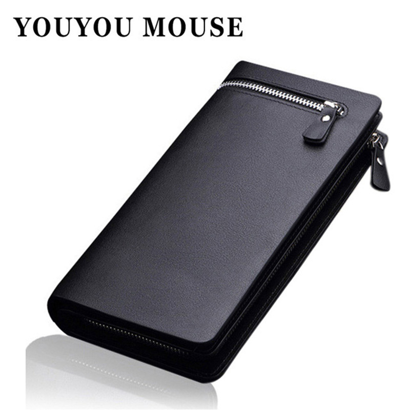 YOUYOU MOUSE Fashion Men Brand Design Leather Wallets Business Long Zipper Purse Honorable Clutch Coin Bag In Bag