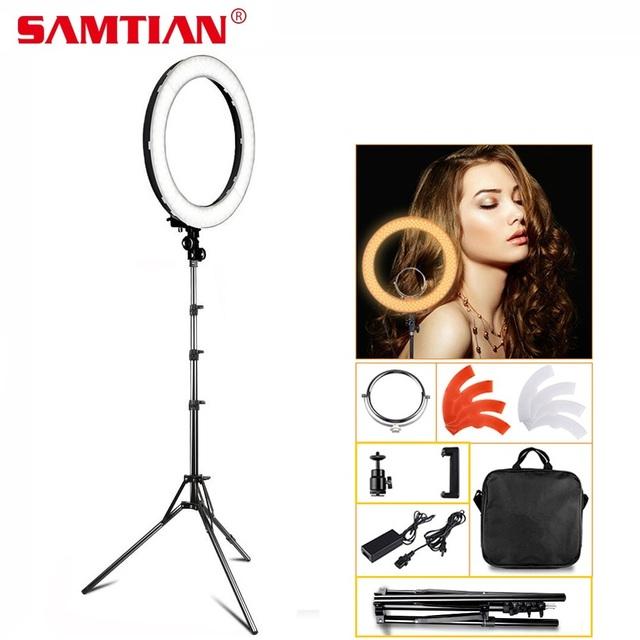SAMTIAN 18″ LED Ring Light Dimmable 3200K-5500K Annular Make-up Lamp &Tripod For Studio Photography Lighting GIft Makeup Mirror