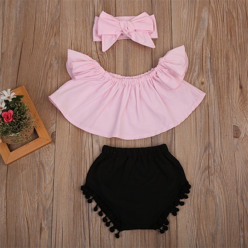 HOT Newborn Baby Girl Clothes Off Shoulder Tops Pant Shorts Headband Outfit