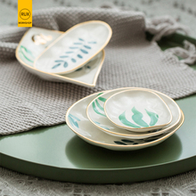 RUX WORKSHOP Hand painted golden ceramic storage tray Fruit Round Small item jewelry display