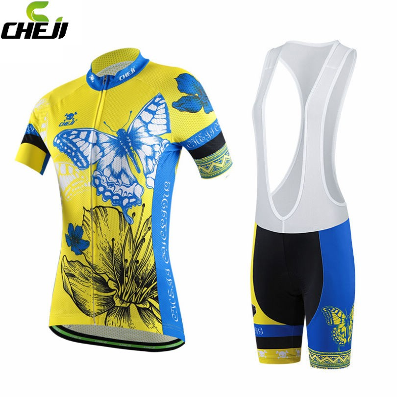 CHEJI 2017 Girls Cycling Jerseys Team Bike Yellow Short Sleeve Clothing Set Bicycle Ropa Ciclismo Women Jersey Bib Shorts  cheji team mens bike clothing set ropa ciclismo mtb bike bicycle cycling long sleeve jersey
